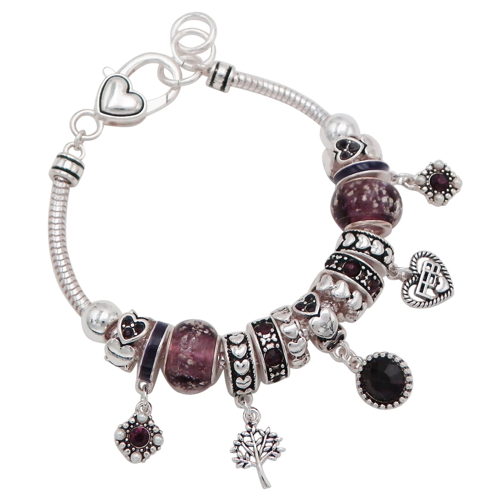Birth Month Birthstone Glass Bead Charm Bracelet (February)