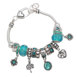 Birth Month Birthstone Glass Bead Charm Bracelet (March)