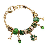 Green and Gold Tone Beaded Charm Bracelet Leprechaun Hat Irish Shamrock Bracelet