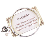 Women's Breast Cancer Awareness Pink Ribbon Charm Twist Bangle Bracelet