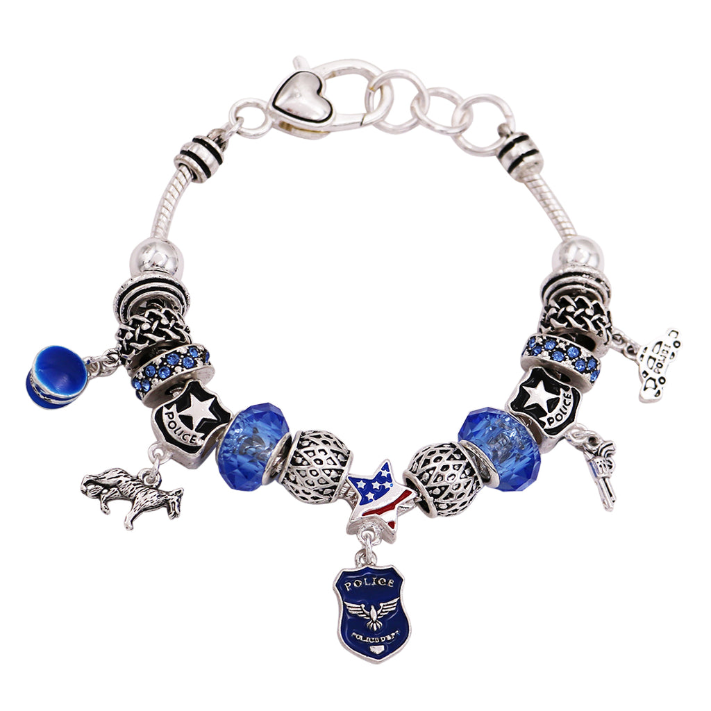 Rosemarie Collections Police Officers Pandora Style Bead and Charm Bracelet