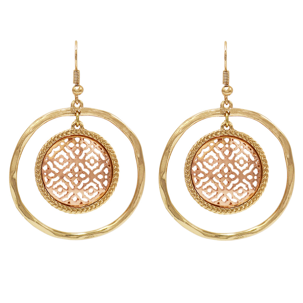 Circular Moroccan Filigree Dangle Earrings (Gold Tone/Rose Gold Color)