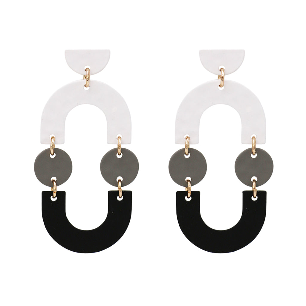 Tri-Color Geometric Shape Statement Dangle Earrings