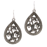 Antique Silver Tone Textured Teardrop Dangle Earrings