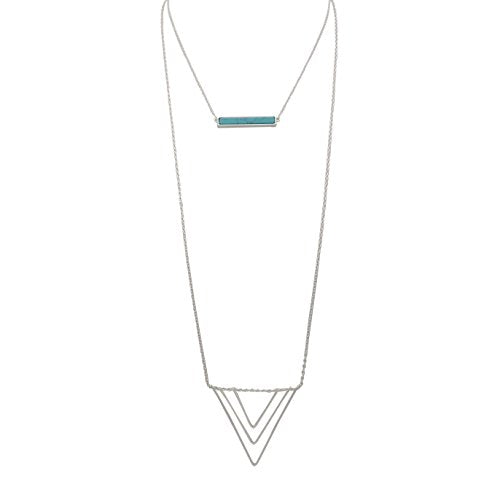 Long Double Chain Genuine Stone Bar Pendant Necklace (Silver-Turquoise)
