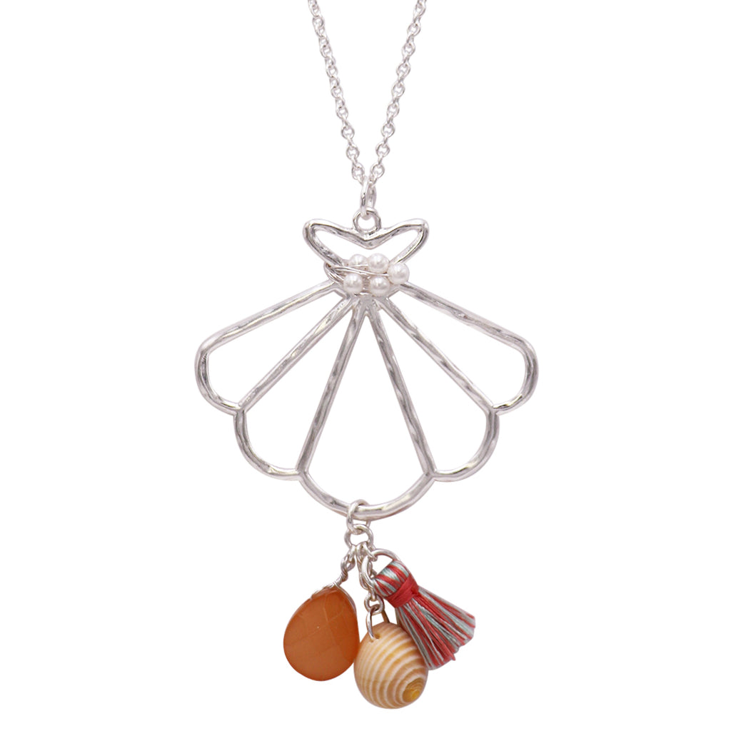 Summer Seashell Long Pendant Necklace With Charms