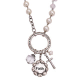 Long Statement Faux Pearl Bead Inspirational Religious Necklace with Charms, 34