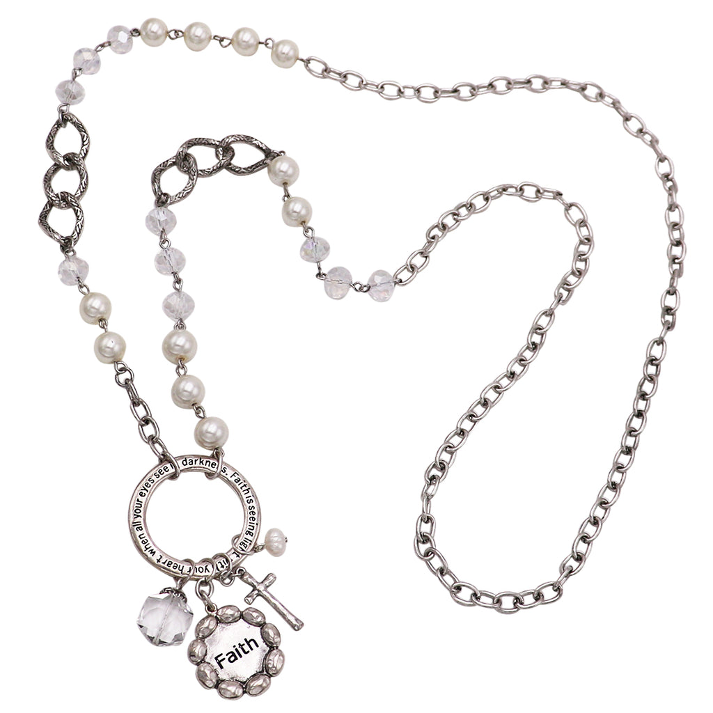 Long Statement Faux Pearl Bead Inspirational Religious Necklace with Charms, 34""