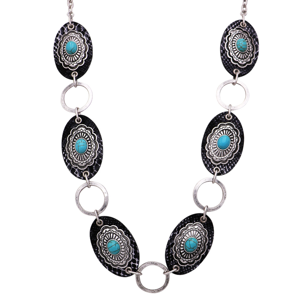 Southwest Style Long Chain Turquoise Concho with Faux Leather Necklace