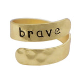 Metal Twist Cuff Adjustable Ring Brave (Gold Tone)