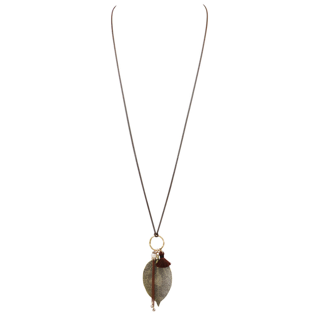 Metal Dipped Natural Leaf with Glass bead and Tassel Detail Necklace