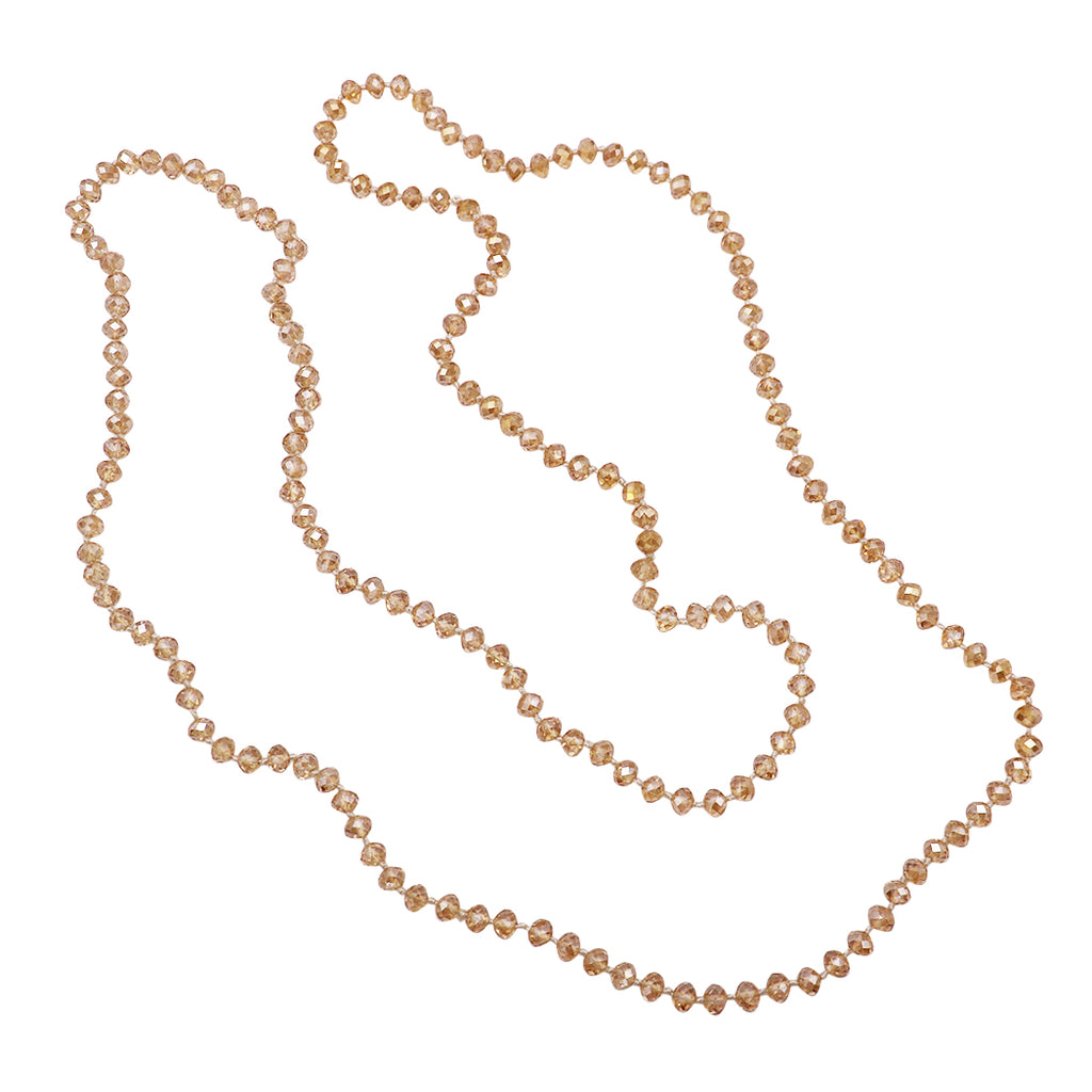 "Long Glass Knotted Bead Strand Necklace 60"" (Topaz)"