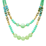 Colorful Glass Bead Double Strand Necklace (Blue)