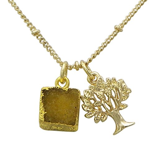 Jewelry Set Druzy Stone Tree Life Pendant Necklace (Brown)