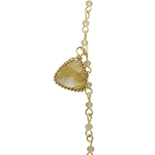 Glass Bead Natural Stone Long Statement Necklace (Cream)