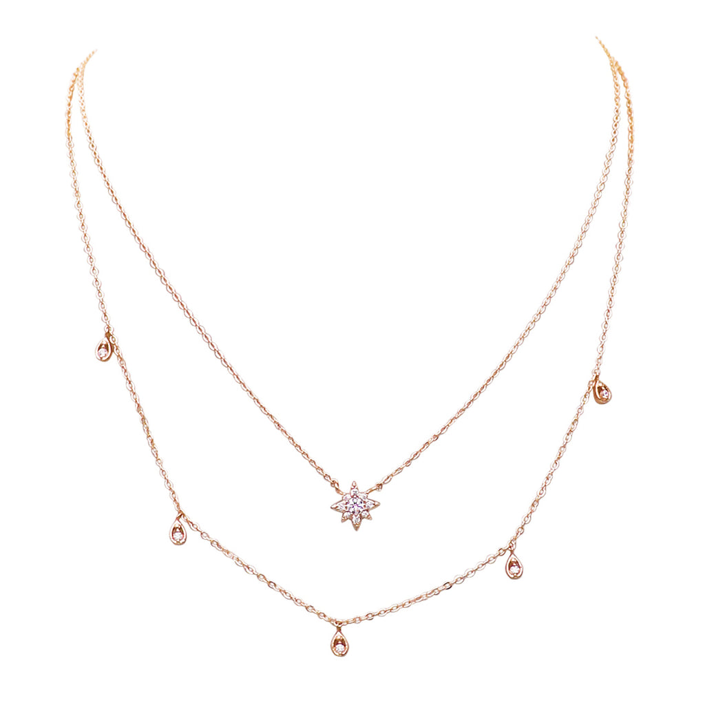 Dainty Double Strand Crystal Star Necklace