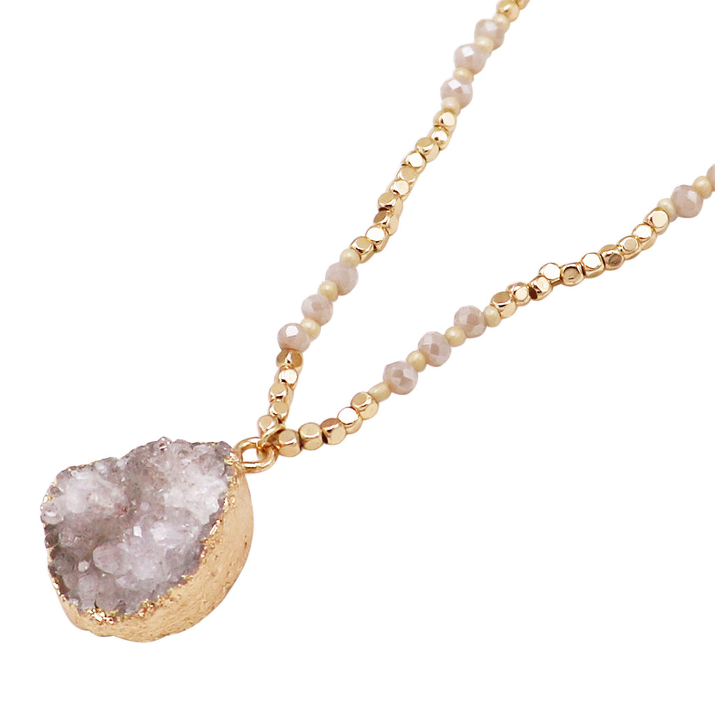 Teardrop Druzy Stone on Beaded Chain Pendant Necklace