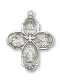 Rosemarie Collections Religious Gift Traditional Catholic Small Four Way Medal Pendant Necklace