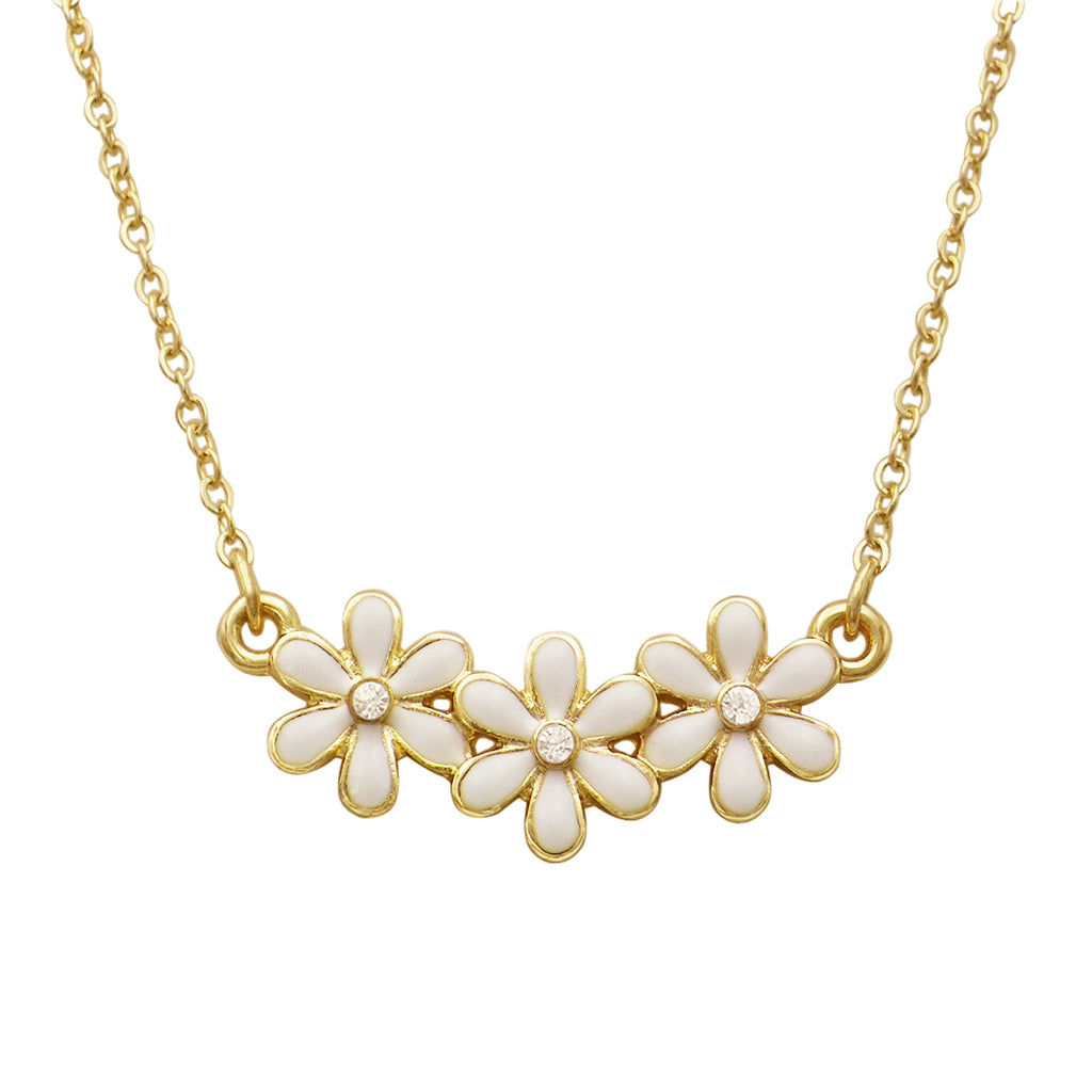 Triple Flower Charm Simple Strand Necklace (White)