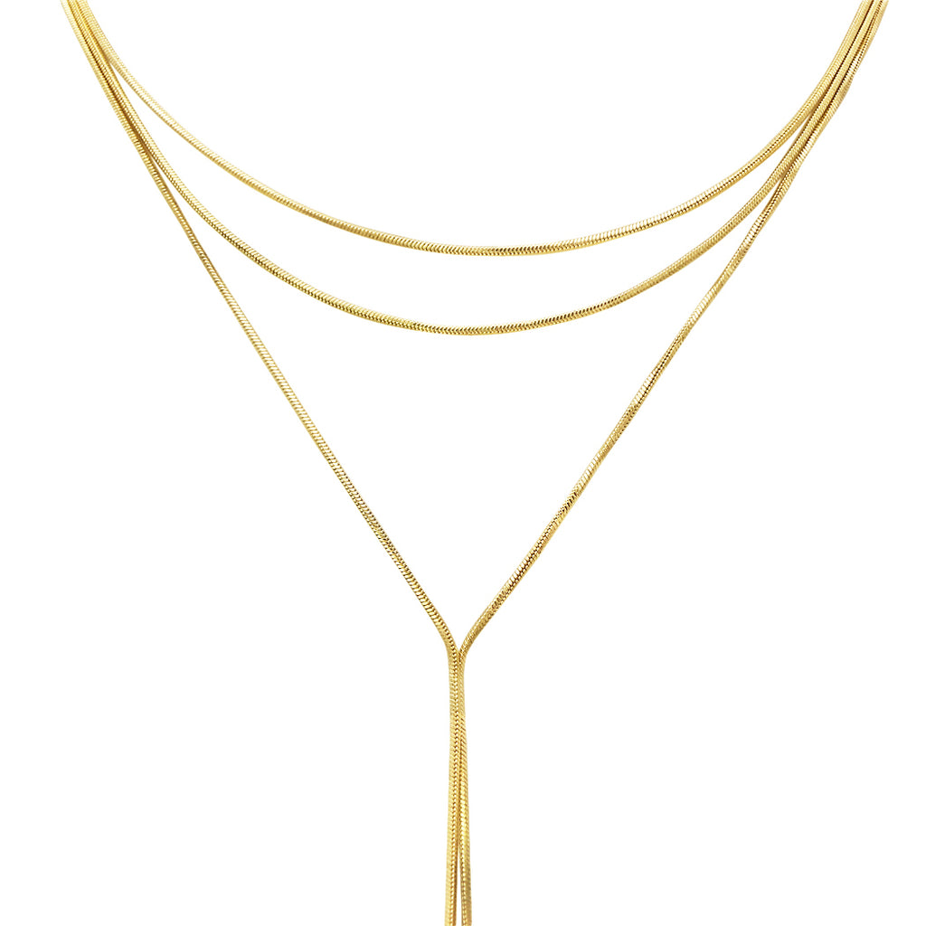 Simple Multi Strand Y Necklace (Gold Tone)