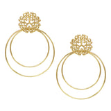 Double Loop Filigree Post Drop Earrings (Gold Tone)
