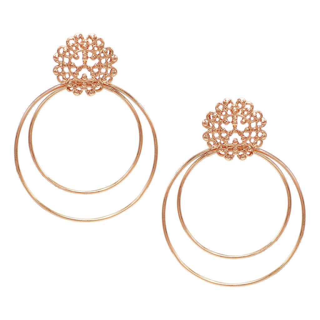 5810a9bf375ce2 Double Loop Filigree Post Drop Earrings (Rose Gold Tone) – Rosemarie  Collections