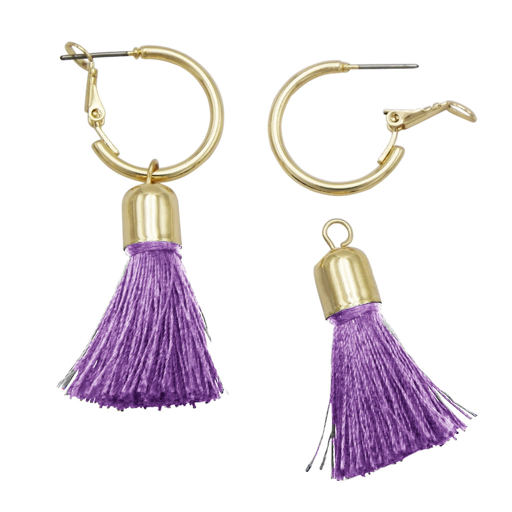 Gold Tone Little Hoop and Removable Thread Tassel Earrings