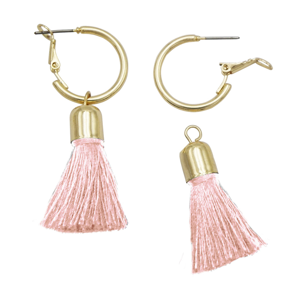 Gold Tone Little Hoop and Thread Tassel Earrings (Pink)