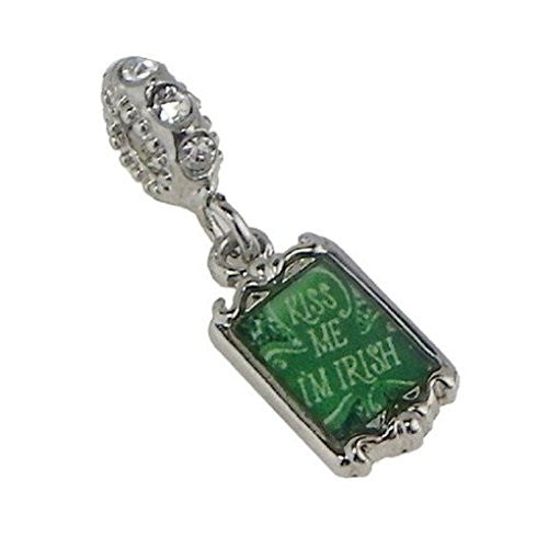 Kiss Me I'm Irish Dangle Bead for All Brand Charm Bracelets