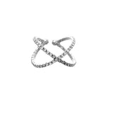 Crystal Criss Cross X Adjustable Fashion Ring