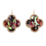 Lucite Quatrefoil and Rhinestone Long Dangle Earrings (Multicolor) 2 inches