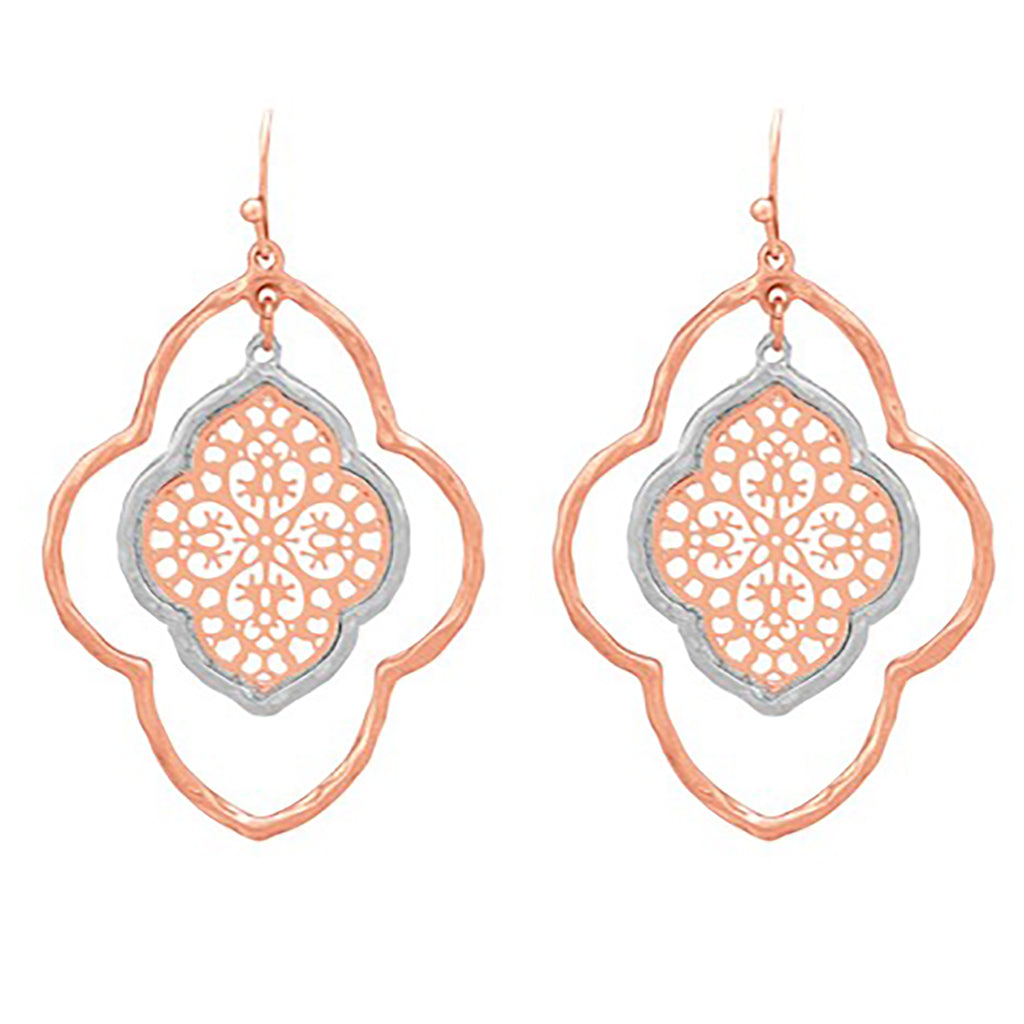 Moroccan Double Dangle Earrings with Filigree Center (Rose Gold/Silver)