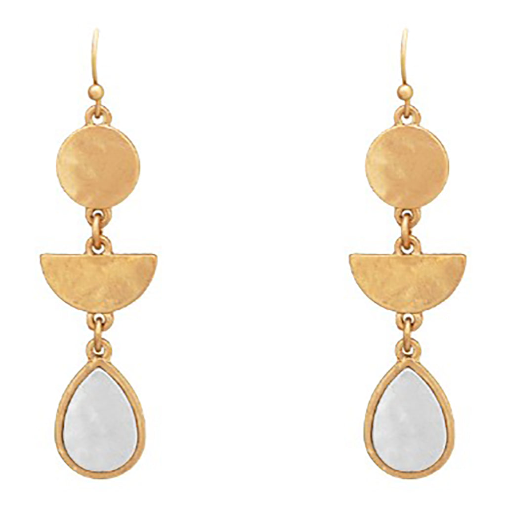 Drop Earrings Geometric Shapes with Two Tone Metal (Gold)