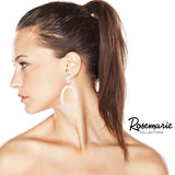 White Lucite Oval Hoop Statement Earrings