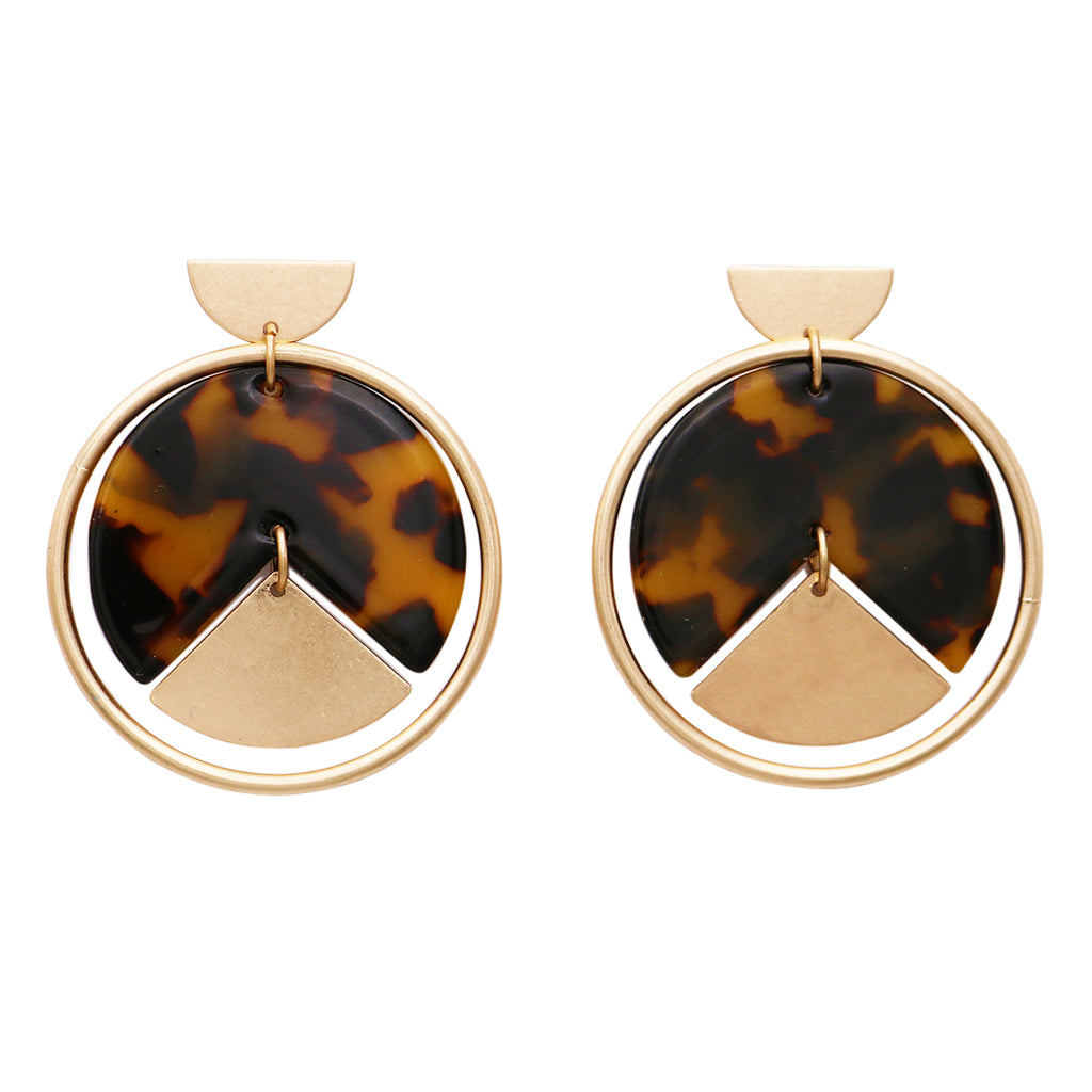 Lucite and Geometric Shapes Hoop Disc Drop Earrings
