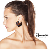 Lucite Solid Disc Hoop Dangle Statement Earrings (Tortoise)