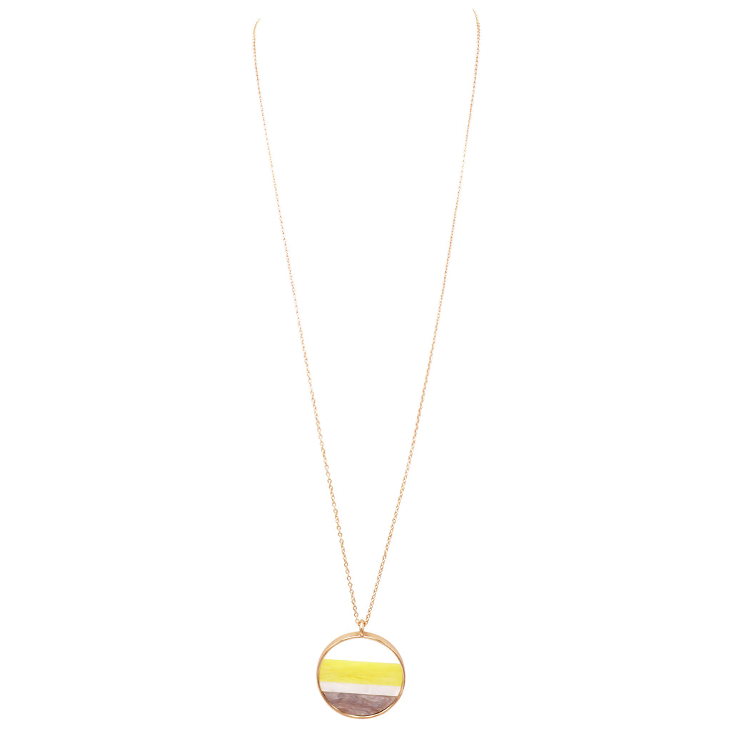 Extra Long Round Pendant Necklace Yellow Grey