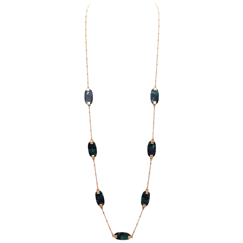 Lucite and Gold Tone Long Strand Necklace (Green)