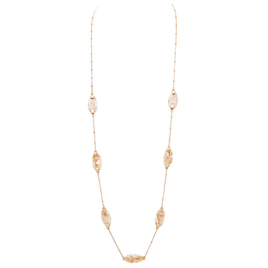 "Lucite and Gold Tone Long Strand Natural Charm Necklace 38"" with 3"" Extender"