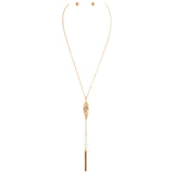 Y Necklace with Feather, Faux Pearl and Fringe Detail Set
