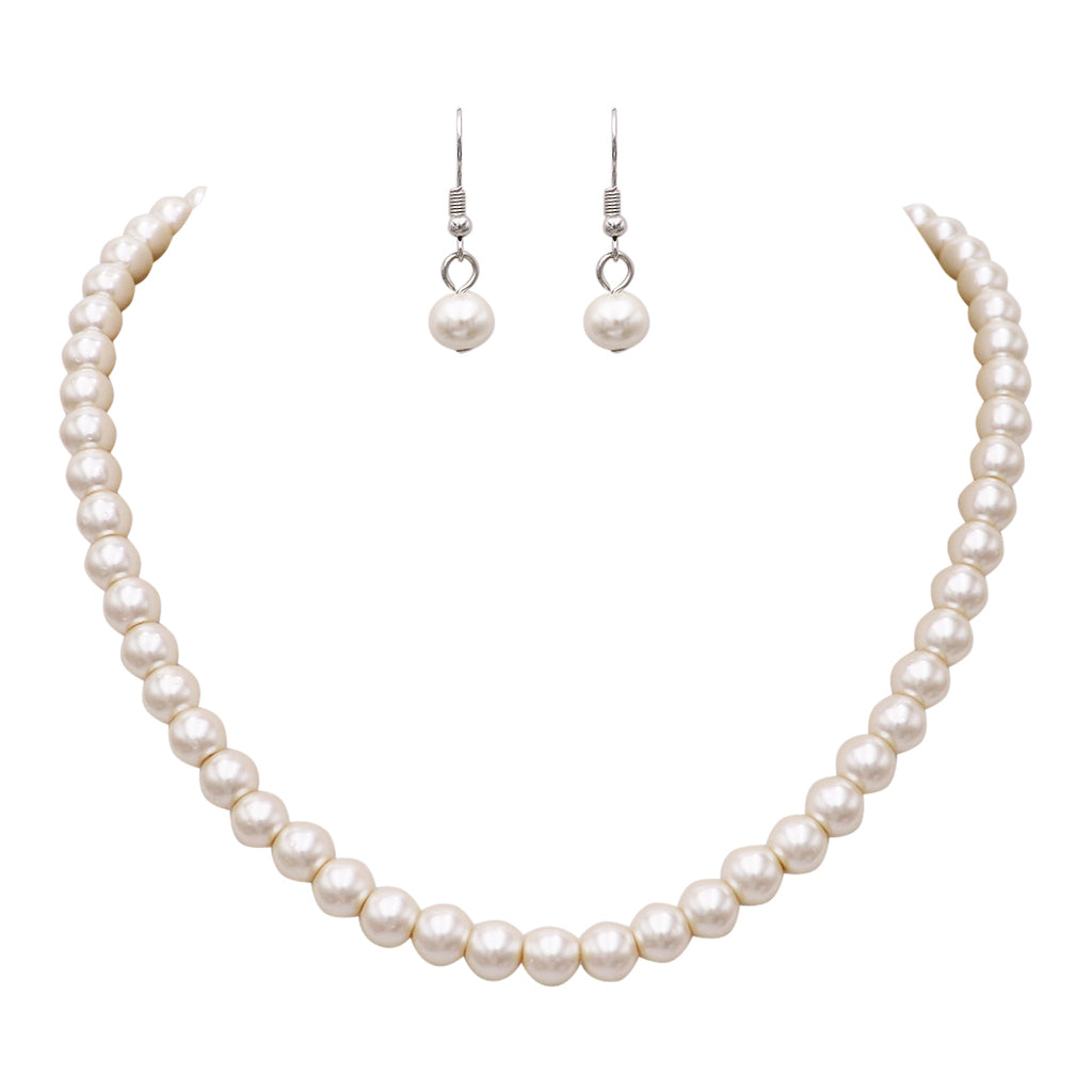"Women's Elegant and Classic Glass Faux Pearl Strand Necklace Earring Jewelry Set, 17"" with 3"" Extender"