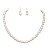Women's Elegant and Classic Glass Faux Pearl Strand Necklace Earring Jewelry Set, 17