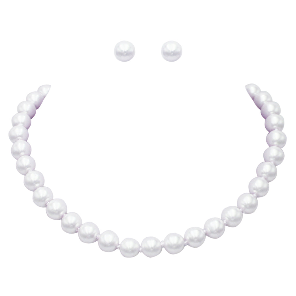 Knotted White Faux Pearl Necklace and Earring Set 8mm