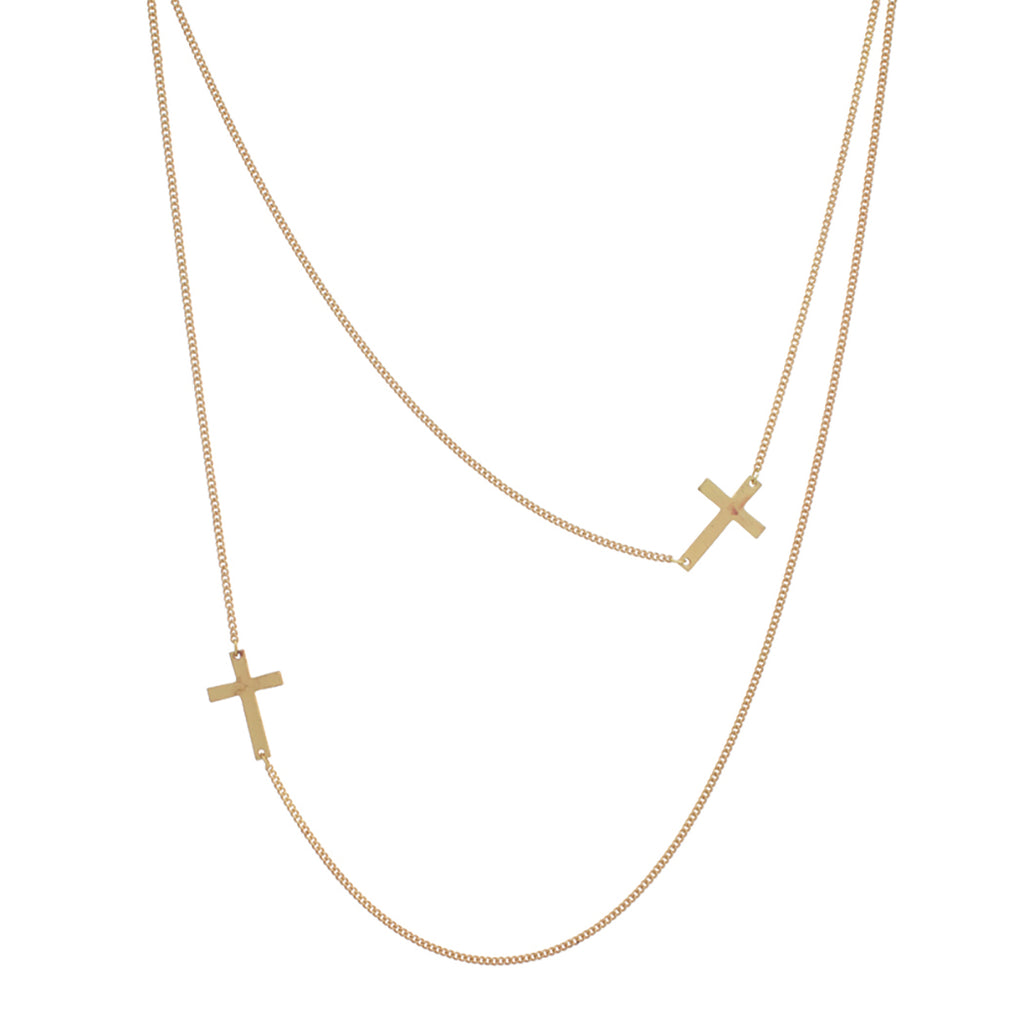 Rosemarie Collections Women's Religious Sideways Cross Double Strand Long Necklace (Gold Tone) …