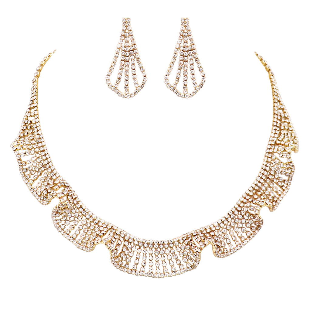 Charming Crystal Rhinestone Ruffle Collar Necklace and Earrings Set