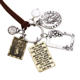 Holy Medal Pendant Necklace with Saint Joan of Arc and John 15:5 Inscription