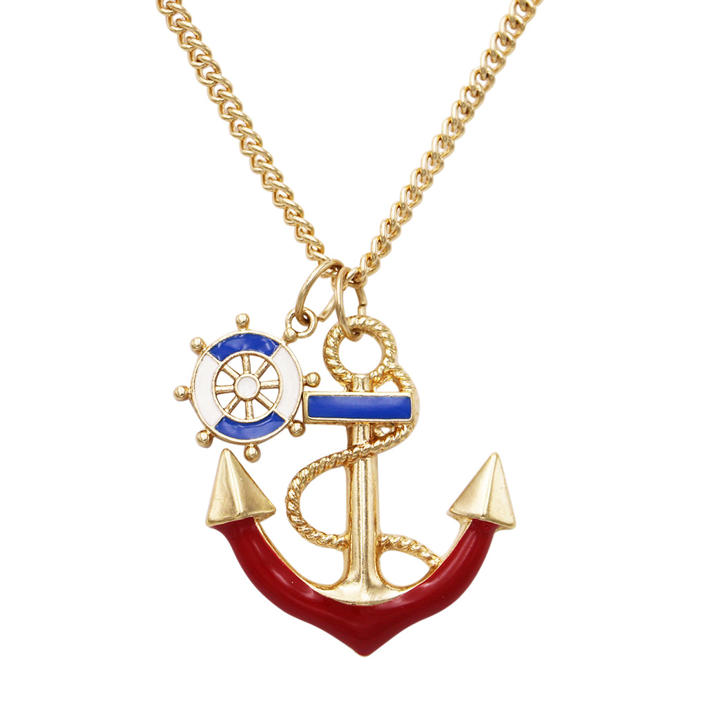 Colorful Red and Blue Anchor Charm Pendant Necklace