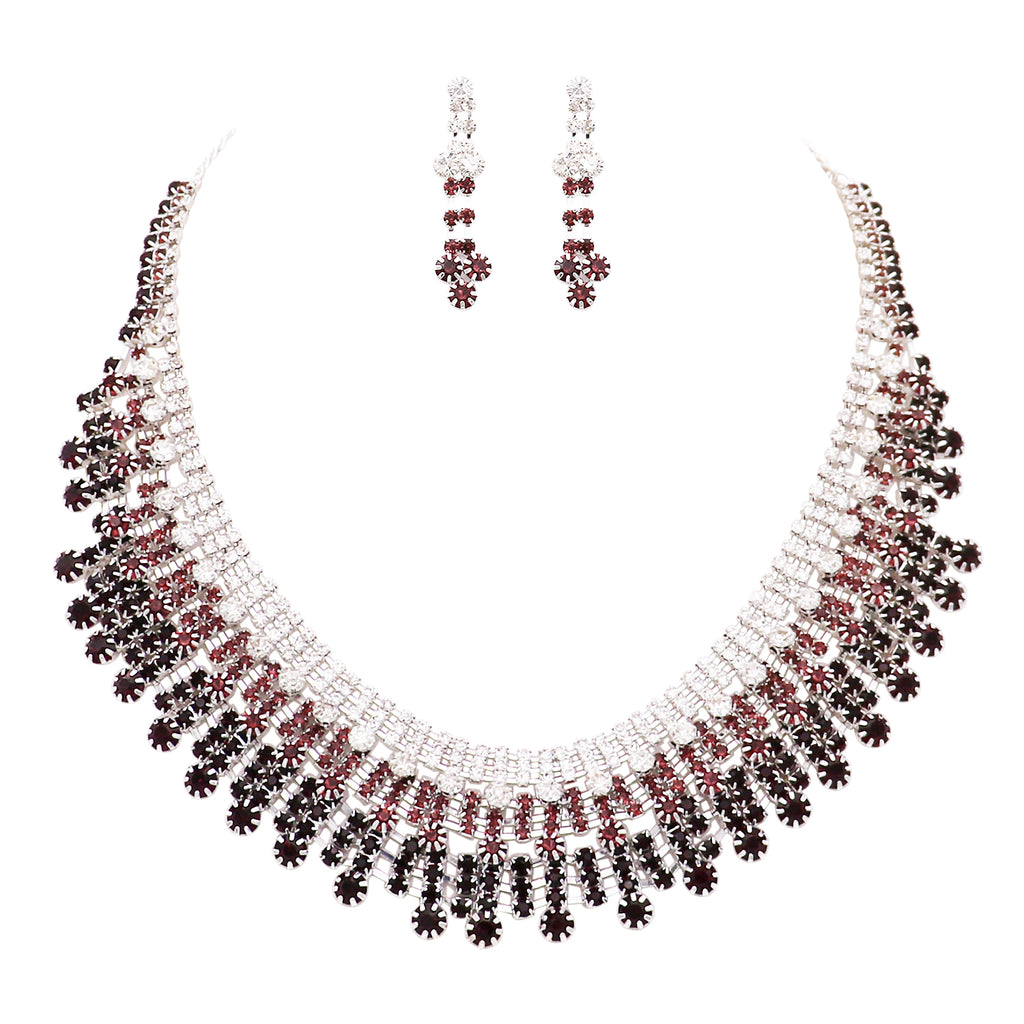 "Women's Adjustable Rhinestone Statement Bib Collar Silver Tone and Amethyst Necklace Earring Jewelry Gift Set, 16"" with 3"" Extender"