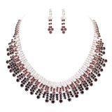 Women's Adjustable Rhinestone Statement Bib Collar Silver Tone and Amethyst Necklace Earring Jewelry Gift Set, 16