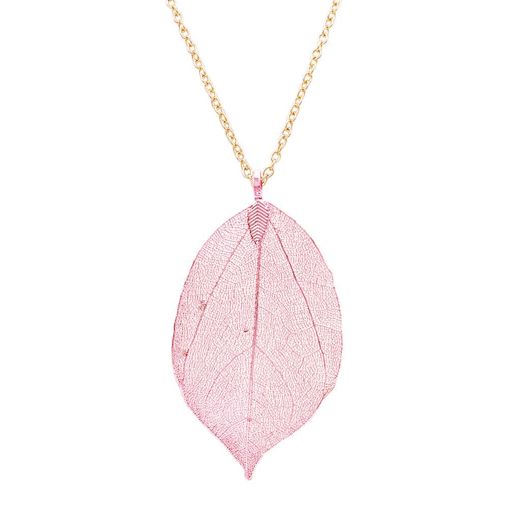 Metal Dipped Natural Leaf Long Pendant Necklace (Pink)